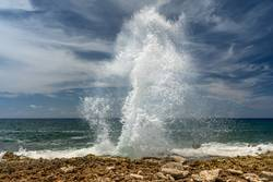 Blow holes at the coastof Grand Cayman Island