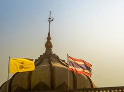 Thai flag and the flag of king at the mosque building