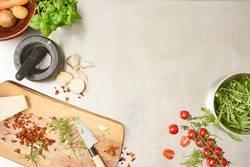 preparing salad in gastro kitchen