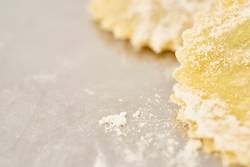 close up of two handmade tortellini