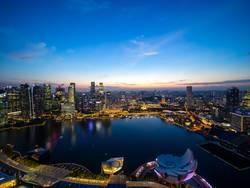 Singapur Weitsicht bei Nacht