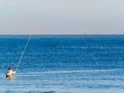 Angler im Meer