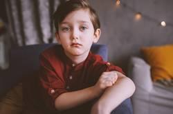 cute sad child boy portrait