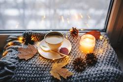cozy winter or autumn morning at home