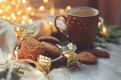 cozy Christmas and winter setting with homemade cookies