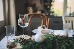 Christmas and New Year table setting in scandinavian style