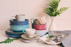 natural crockery tableware on wooden background.