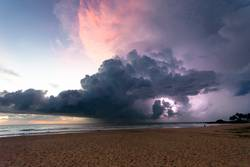 Ahungalla Beach, Sri Lanka - Thunder and lightning at the beach