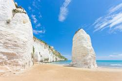 Vieste, Italy - Chalk cliffs at the beach of Vieste
