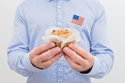 Miniature flag of America USA with sweet cupcake