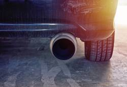 Close up view of modern car powerful exhaust pipe