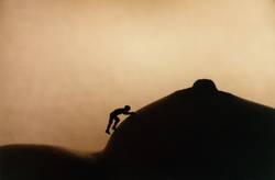 Bergsteiger auf Brust