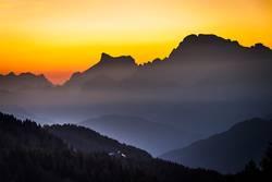 Sonnenuntergang am Königssee mit Blick auf den Watzmann
