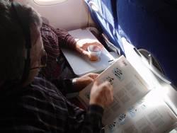Arbeiten im Flugzeug