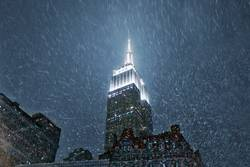 Empire State Building in New York with snow