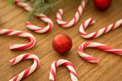 Candy canes with Christmas balls
