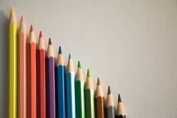 Color pencils form abstract lines pattern