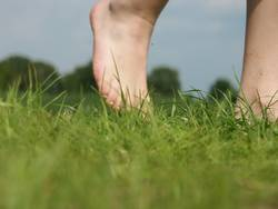 Nackte Füße in freier Natur