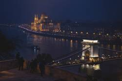 Tourist at night in Danube river in Budapest