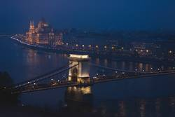 night scenary of Danube river flowing through Budapest
