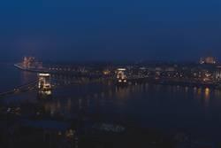 Danub flowing through Budapest at night