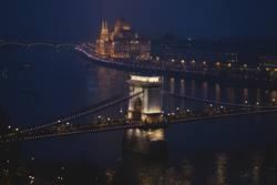 night scenary of the Danube river in Budapest
