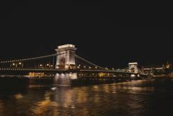 Night scene of The Chain Bridge in Budapest
