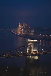 night view of the Danube river flowing through Budapest