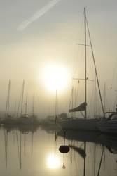 Morgen-Nebel im Hafen von Ystad