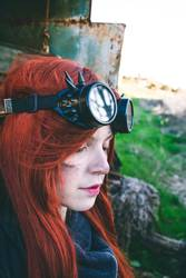Young woman wearing steampunk style clothes