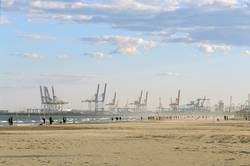Valencia beach and industrial port, Spain
