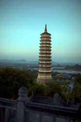 Bai Dinh Pagoda in Ninh Binh, Vietnam. Evening view