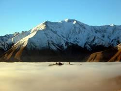 Castle hill in a sea of cloud
