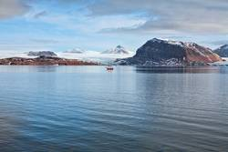 Glacier and mountains in Svalbard islands, Norway