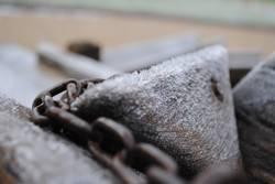 Frozen wood in chains