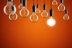 Idea and leadership concept Vintage incandescent