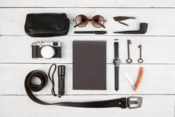 Travel concept - set of cool men's stuff