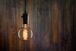 Vintage incandescent Edison type bulb on wooden wall