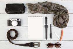 Travel concept - set of cool men's stuff