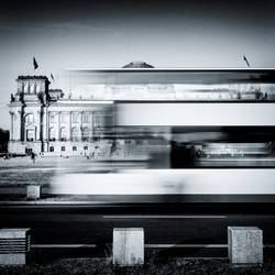 Berlin Reichstag buildung with double-decker bus
