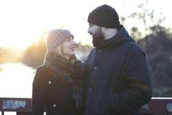 Blickkontakt, festhalten, Sonnenuntergang, Winter