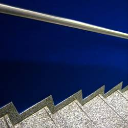 one stair, two stairs, downstairs, blue stairs