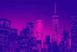 Night view of lower Manhattan skyline in New York
