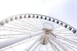 Bottom view of a ferris wheel against a clear sky