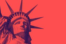 the statue of liberty with a red duo tone effect