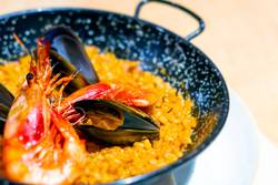 Paella with mariscos, a typical dish of Spanish cuisine