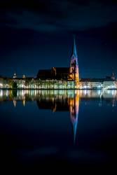 Schwerin Pfaffenteich Spiegelung Historische Altstadt bei Nacht