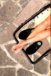 Sonnende Beine
