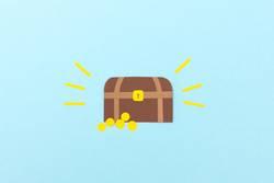 Schatzkiste mit glitzernden Goldmünzen