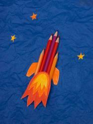 Rakete aus Buntstiften